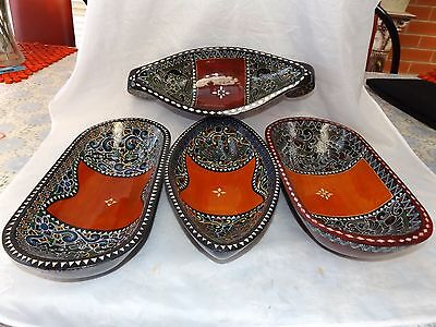 Vintage Lot of 4 Asian Hand Crafted, Painted & Lacquered Wooden Serving Bowls