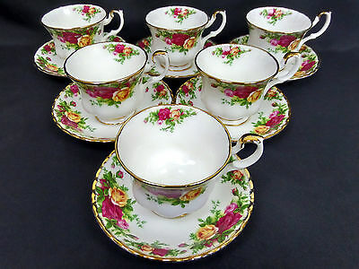 6 Old Country Roses Tea Cups & Saucers, Gen. Good Condition, Royal Albert
