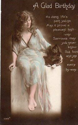 VINTAGE FRENCH BIRTHDAY GREETING postcard of PRETTY GIRL WITH LITTLE DOG