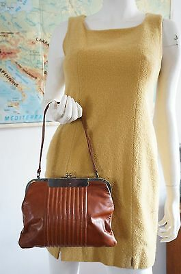SAc clic clac Vintage VTG 60 sixties CUIR LEATHER pin up Dita BAG PURSE