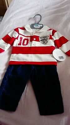 Baby boy clothes 0-3 months rugby style top and jeans mini chic New