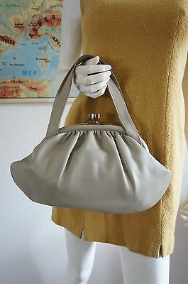 SAC BAG BOURSE clic clac Vintage VTG 60 SIxties SIMILI CUIR