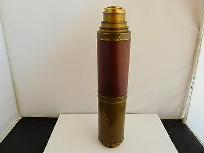 Large Antique (19Th Century) 3-Drawer Mahogany And Lacquered Brass Telescope
