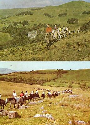 2 VINTAGE postcards of PONY TREKKERS SCOTLAND & WALES