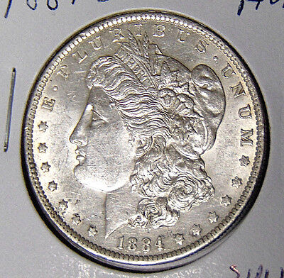 AU 1884-O Morgan Silver Dollar New Orleans Mint About Uncirculated (315yz)