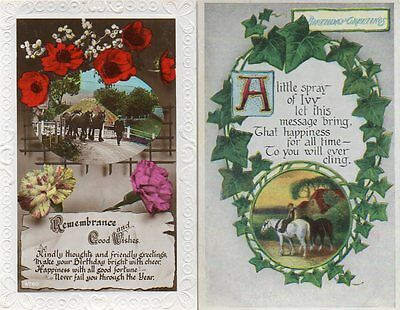 2 VINTAGE BIRTHDAY GREETINGS postcard of HEAVY SHIRE WORKING FARM HORSES