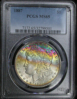 Lovely 1887 PCGS MS65 Gem Banded Rainbow Toned Morgan Dollar