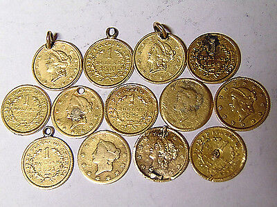 13 Liberty Gold Dollars: 1849-1853 Type 1 Coins With Fancy Engraving