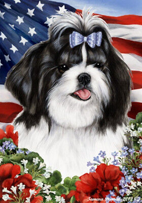 Garden Indoor/Outdoor Patriotic I Flag - Black & White Shih Tzu 160111