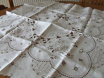 Beautiful Vintage Cream & Beige Linen Hand Embroidered Table Cloth.