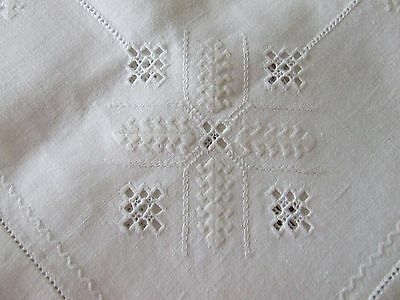 Vintage White Hand Embroidered Linen Lefkara Style Table Cloth.