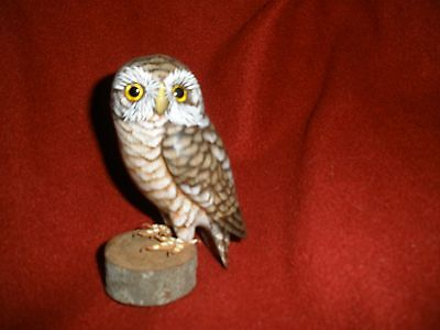 Vtg Wood Owl Figure Craved? Statue Hand Painted? Glass Eyes? Awesone