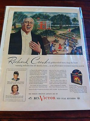 1945 RCA Victor Red Seal Records Richard Crooks Old South Theme Print ad