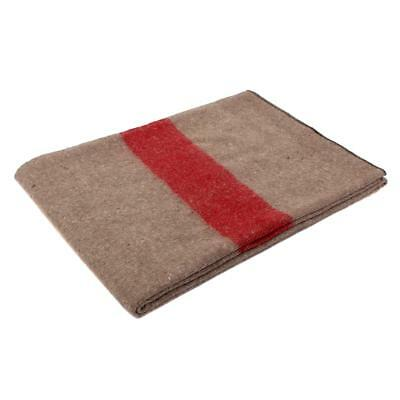 Swiss Army Style Wool Blanket Earth Color/ Red Stripe