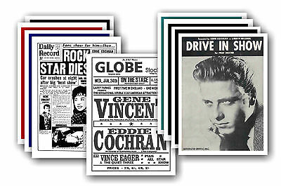 EDDIE COCHRAN  - 10 promotional posters - collectable postcard set # 2