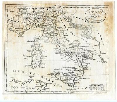 1790 Copper Engraving Gridley Map Italy Sicily Sardinia From Latest Authorities