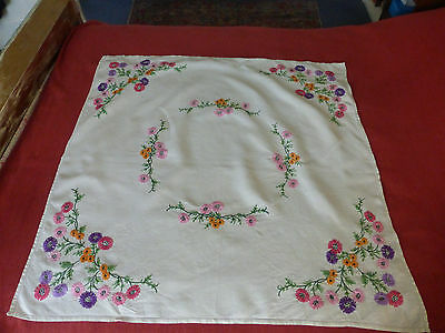 Hand embroidered Irish Linen tablecloth, sprigs of daisies