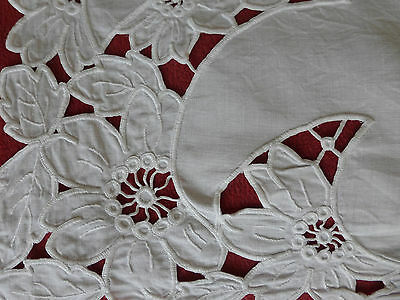 embroidered Linen tablecloth, Art deco bold flowers