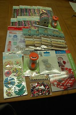 Job Lot of 25 Craft Items-Punches/Ribbons/Sequins/Stones/Stamps/Book etc