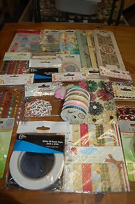 Job Lot of 25 Craft Items-Punches/Ribbons/Sequins/Stones/Stamps/Decoupage Papers