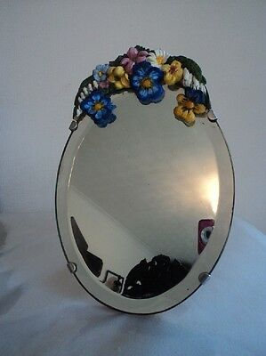 1930's Barbola oval easel mirror with bevelled edging featuring pansies