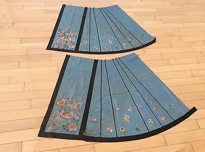 Old Chinese 2 Skirt Panels Silk Embroidery  As Is Usa Only Ship