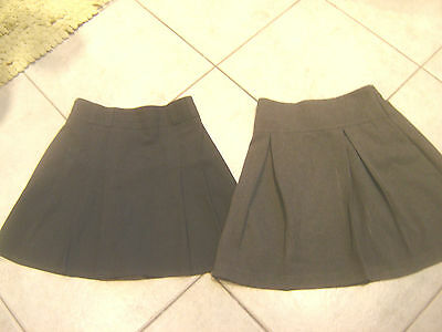 . 2 Grey School Skirts Kick Pleated  M&s And School Essentials   Age 11 And 8-9
