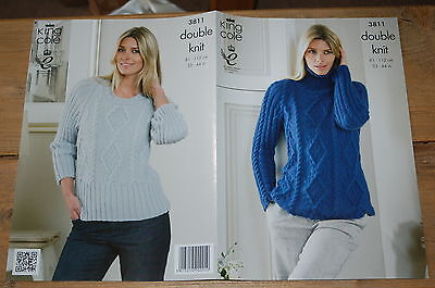King Cole 5300 Knitting Pattern Womens Sweater and Cardigan in King Cole Big Val