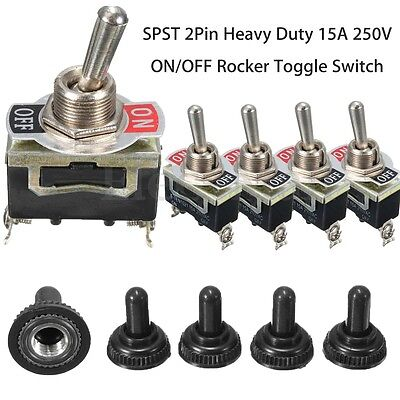 10X SPST 2Pin Heavy Duty 15A 250V ON/OFF Rocker Toggle Switch + Waterproof Boot