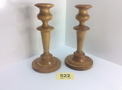 Reconditioned Pair Of Wooden Candlesticks