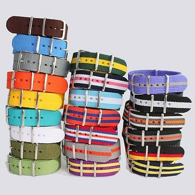 Brand New High Quality Men Boy Ladies 20MM Nylon Watch Band Fabric Strap U47