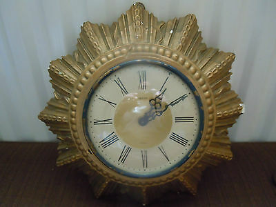 Vintage Smiths Eight Day Art Deco Hanging Clock For Parts or Restoration