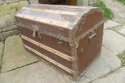 Antique Pine Dome Shaped Steamer Trunk