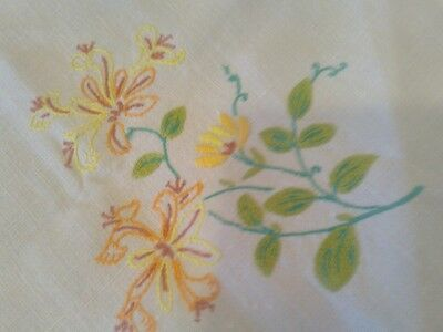 Pretty Vintage Hand Embroidered Linen Tablecloth Square 32 x 32 Inches