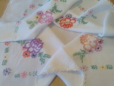 Vintage Hand Embroidered Linen Tablecloth with Crochet Edge