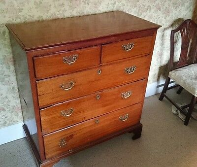 Vintage Antique Edwardian Wooden Chest Of Drawers