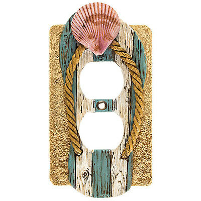 Beach Sandal Flip Flop Shell Tan Blue White Pink Outlet Plate Cover