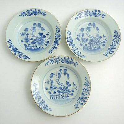 Set Of Three Chinese Blue And White Porcelain Soup Plates, 18Th Century