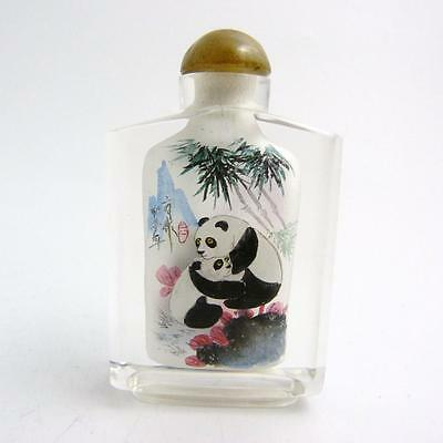 Chinese Porcelain Reverse Painted Glass Snuff Bottle, Qing Dynasty, Pandas