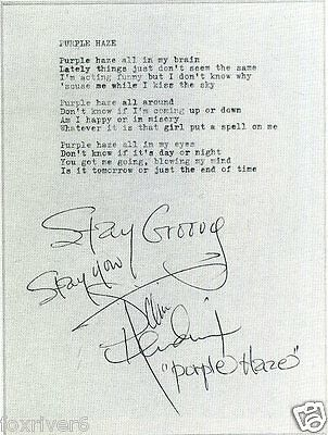 JIMI HENDRIX Signed Lyrics - 'Purple Haze' - Rock Star - preprint