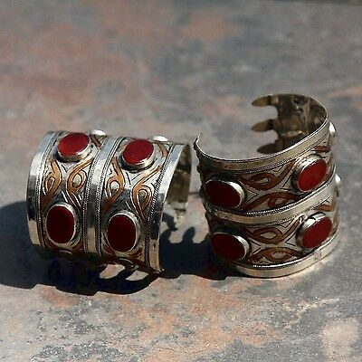 BRACELET Pair (2pc) Turkman Tribal Real CARNELIAN Gold Plated BellyDance 501a55