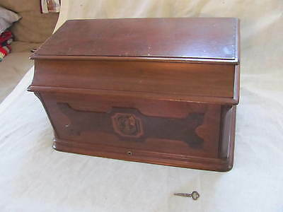 1883 Singer Treadle Sewing Machine Wooden Top Cover Coffin Case Lid with Key