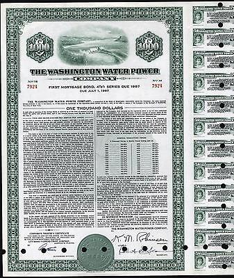 $1000 Washington Water Power Co, 1957 Bond, With 21 Coupons