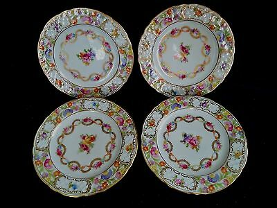 Dresden Flowers china 4 bread or pie plates 6in Schumann Germany roses garlands