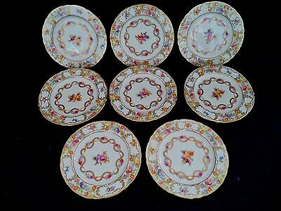 Dresden Flowers china 8 bread or pie plates 6in Schumann Germany roses garlands
