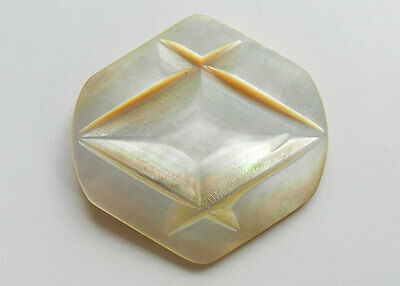 Large Antique Vintage Mother of Pearl Button Diamond Shaped Carved Top
