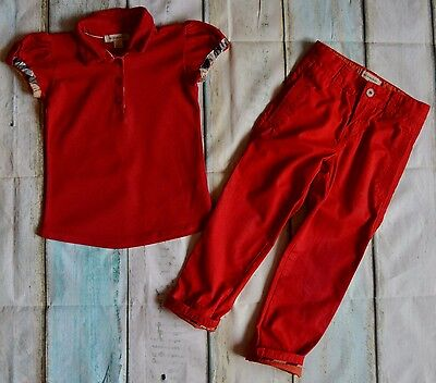 Girls Burberry Designer Clothes Bundle Red Polo & Matching Chinos 2-4 Years