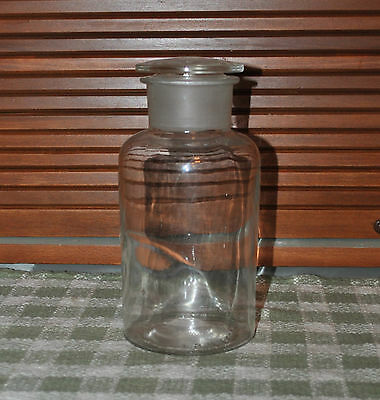 "Vintage Large Apothecary Jar with Stopper 8 1/2"" Tall"