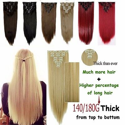 Long Thick Real 18Clips Clip in Hair Extensions Full Head Set Straight Curly WG5