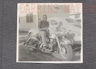 Vintage 1950s Photo Black Man on Harley Davidson Motorcycle 763926